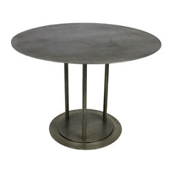 42 W Iron Dining Table Acid Etched Top Solid Iron Modern Industrial