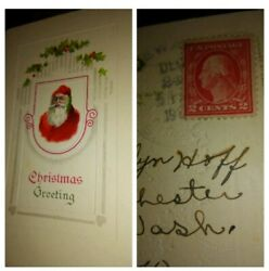 Christmas Old World Santa Claus Red Robe Victorian Holly Postcard