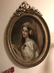 Antique Painting Gouache Of A Lady/3 Feet/oval Wood Gilt Frame/early 19 Century
