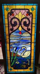 Most spectacular drapery glass  swan stained glass window