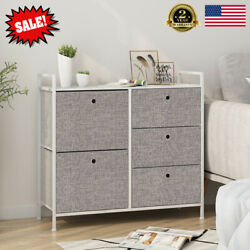 Modern Faux Linen Chest Of Drawers Home Dresser Tower Storage Organizer Rack US