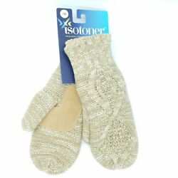 ISOTONER Women's One Size Cable Knit Mittens Soft Fuzzy Sherpa Winter Camel Tan
