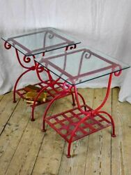 Pair Of 1960's Side Tables - Red Wrought Iron With Glass Tops 19¾ X 19¾