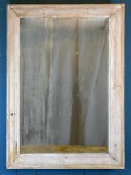 Antique French Mirror With Wooden Frame And White Patina - Original Glass 34andfrac14 X