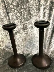Pair Of Antique Heintz Bronze And Sterling Candle Sticks