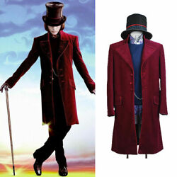 Charlie And The Chocolate Factory Willy Wonka Johnny Depp Cosplay Costume Suit