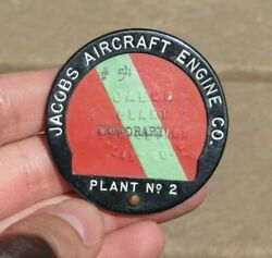 Ww2 Jacobs Aircraft Engine Manufacturer Id Identification Employee Badge Pin