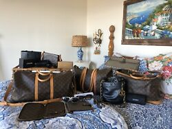 Chanel: lot and Louis Vuitton luggage totes and sunglasses +