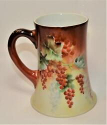 1906 Tandv Limoges France Signed By F.w. Braw Hand Painted Red Grapes 5 1/2h Mug