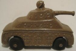 Old Barclay Metal Military Army Tank W/ Soldier Head Popping Out - Black Tires