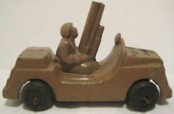 Old Barclay Metal Anti Aircraft Army Military Vehicle W/ Soldier Driver