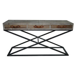 63 L 3 Drawer Console Table Reclaimed Wood Leather Pulls Modern Iron X Base