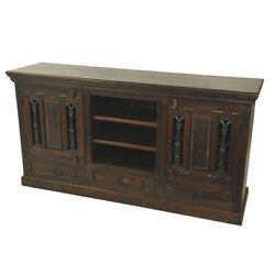 69 L Sideboard Cast Iron Doors Solid Acacia Wood Three Base Drawers Traditional