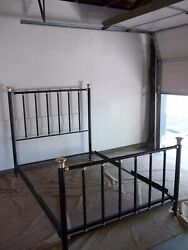 Standard Full Bed With Brass And Metal. Antique, Early 20th Century