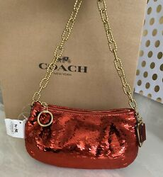 NEW COACH POPPY SEQUINS RED SMALL POUCH EVENING BAG GOLD 14368 RARE $149.25