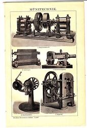 1894 Coin Press - Coin Minting,stamping Coins Machine Antique Lithograph Print