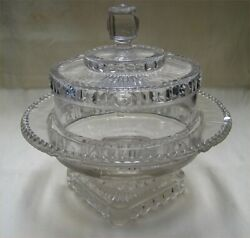 Antique Eapg Pressed Flint Glass Beaded Star And Buttons Covered Butter Dish