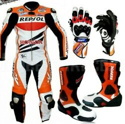 HONDA MOTORBIKE RACING LEATHER SUIT BOOTS AND GLOVES  CE APPROVED