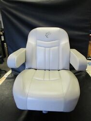 Cypress Cay Captains Helm Seat W/ Attwood Electric Seat Slide Beige / Taupe Boat