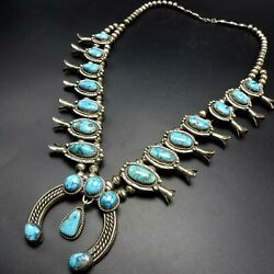 Vintage Navajo Sterling Silver Morenci Turquoise Squash Blossom Necklace 250g