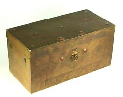 Antique 18th C. Chinese Brass Chest Strong Box Wood Lining Inside Large Heavy