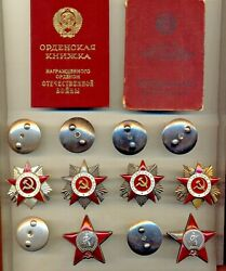 Soviet Badge Banner Medals 2 Order Of The Red Star 4 Gpw Documents 1438