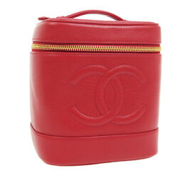 Cc Cosmetic Vanity Hand Bag 4199754 Purse Red Caviar Skin Leather 03822