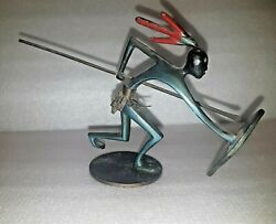 Rare Vtg Israel Hakuli Solid Bronze Of African Fighter Signed And Kenya Tax 50's