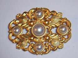 KAREN HALL PEARL amp; GOLD TONE OVAL BROOCH PIN 2 INCH BEAUTIFUL