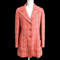 97p 42 Cc Button Single Breasted Long Sleeve Jacket Tweed Red 03868