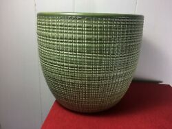 Heavy Large Green Round Ceramic Pot Planter Marked 866-19 Made In Germany