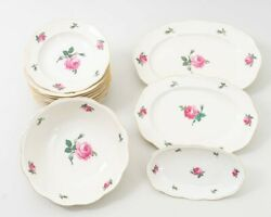 14 Krister Germany Kpm China Pink Rose Serving Dishes 11 Bowls 3 Platters 0643