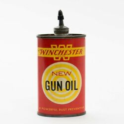 Vintage Red Yellow Tin Can Of Winchester New Gun Oil 3 Fluid Ounces 10 Full