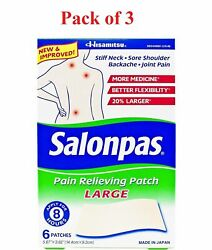 Salonpas Pain Relieving Patches Large Back And Muscle Ache 6 Count Pack Of 3