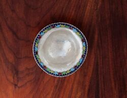 - Russian / Middle Eastern 1000 Silver And Enamel Footed Bowl Hand Hammered