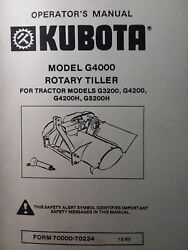 Kubota G5200h Garden Tractor 3-point Tiller Implement G4000 Owner And Parts Manual