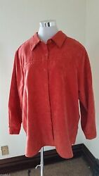 Relativity Womens Shirt Top 2x Suede Like Long Sleeve Button Front Plus Nice H