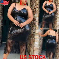 Plus Size Women's Glitter Sequins Tassel Dress Party Backless Bodycon Midi Dress