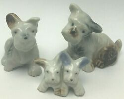 Vintage Family Of Scottie Dog Scottish Terriers Figurines Japan Blue And White