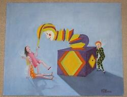 FOLK ART FAIRY CHILDREN JACK IN THE BOX TOY PUPPET JESTER LISTED ARTIST PAINTING