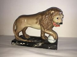 Lb4 Staffordshire Pearlware Lion Mantle Figure With Globe Ca. 1820 Great Size