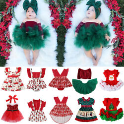 Infant Toddler Baby Girl Outfit First Christmas Party Romper Tutu Dress Clothes