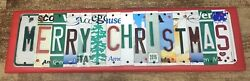 MERRY CHRISTMAS Upcycled License Plate Art Sign Cabin Decor Happy Holidays Tree