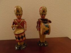 1940's Marx Toys Tin George Soldiers Mechanical Drummers Set Of 2
