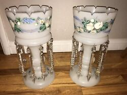 Pair Of Victorian Antique Hand-painted Lusters With Prisms