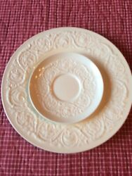 Vintage Wedgwood Patrician Embossed Floral And Vine 10.5 Dinner Plate And Saucer