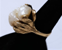Antique Victorian/edwardian Huge Baroque Blister Pearl Organic Ring