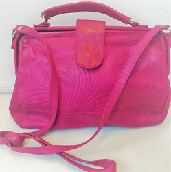 Barganza Stamped Pink Leather Purse Long Strap