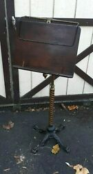 Antique English Music Stand Brass Iron And Wood