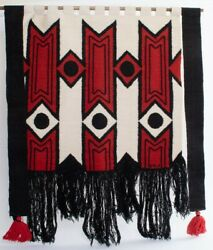 Signed Olga Fisch Modernist Tapestry Hanging In Red, White, Black Wool 34 W